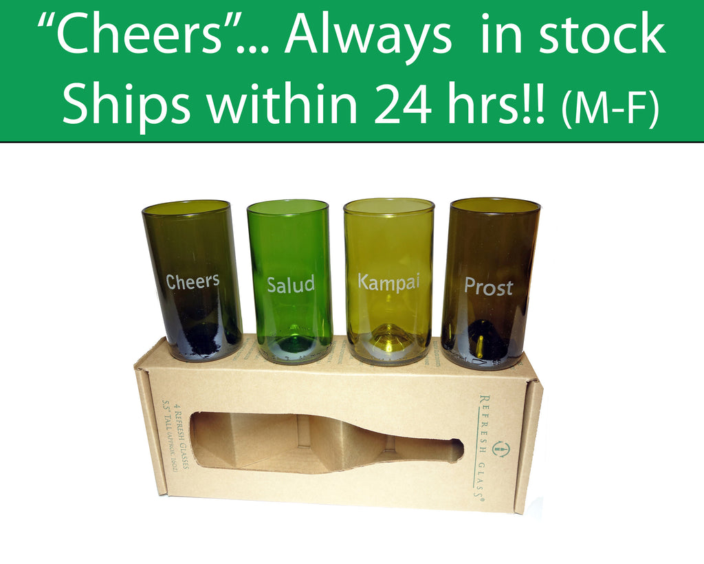 Cheers in 4 languages engraved on a 16oz set of 4 Refresh Glasses
