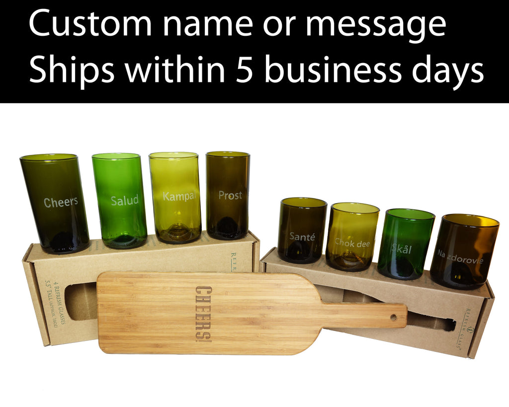 Custom engraved 12oz & 16oz 4 packs of Refresh Glasses, and a custom engraved bamboo board