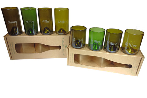 #7:  Custom Etched: 12oz & 16oz set of 4 Refresh Glasses, custom engraved bamboo magnet, hand written note, wrapped