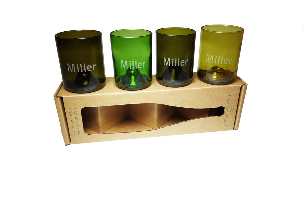 #5:  Custom etched: 12oz set of 4 Refresh Glasses, custom engraved bamboo magnet, hand written note, wrapped