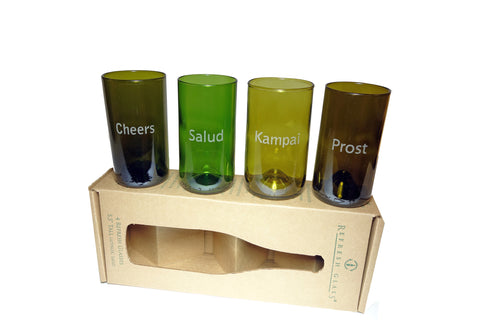 #2:  Cheers in 4 languages: 16oz set of 4 Refresh Glasses, custom engraved bamboo magnet, hand written note, wrapped
