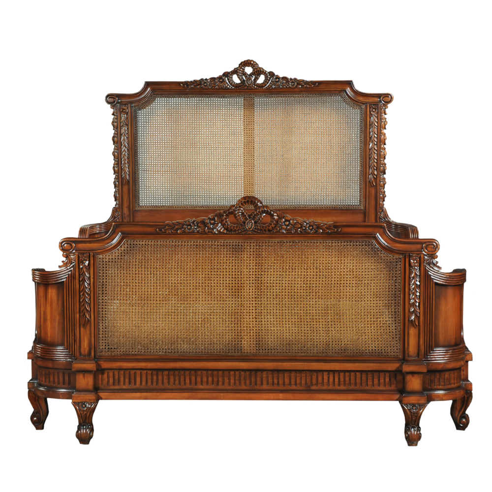 antoinette french style hand carved mahogany caned bed frame french furniture shabby chic furniture serendipity - Mahogany Bed Frame