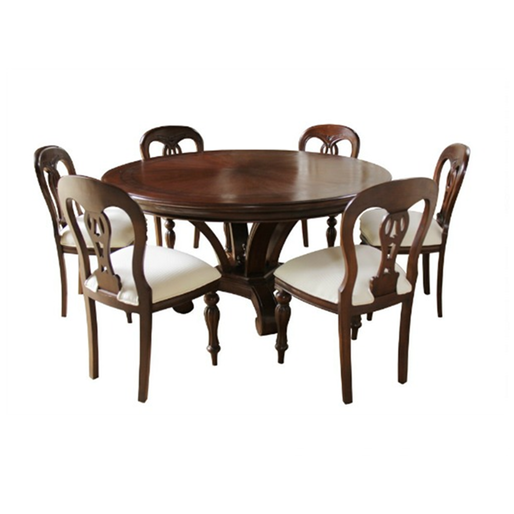 Admiralty Round Mahogany Dining Table with Inlay Dining Room
