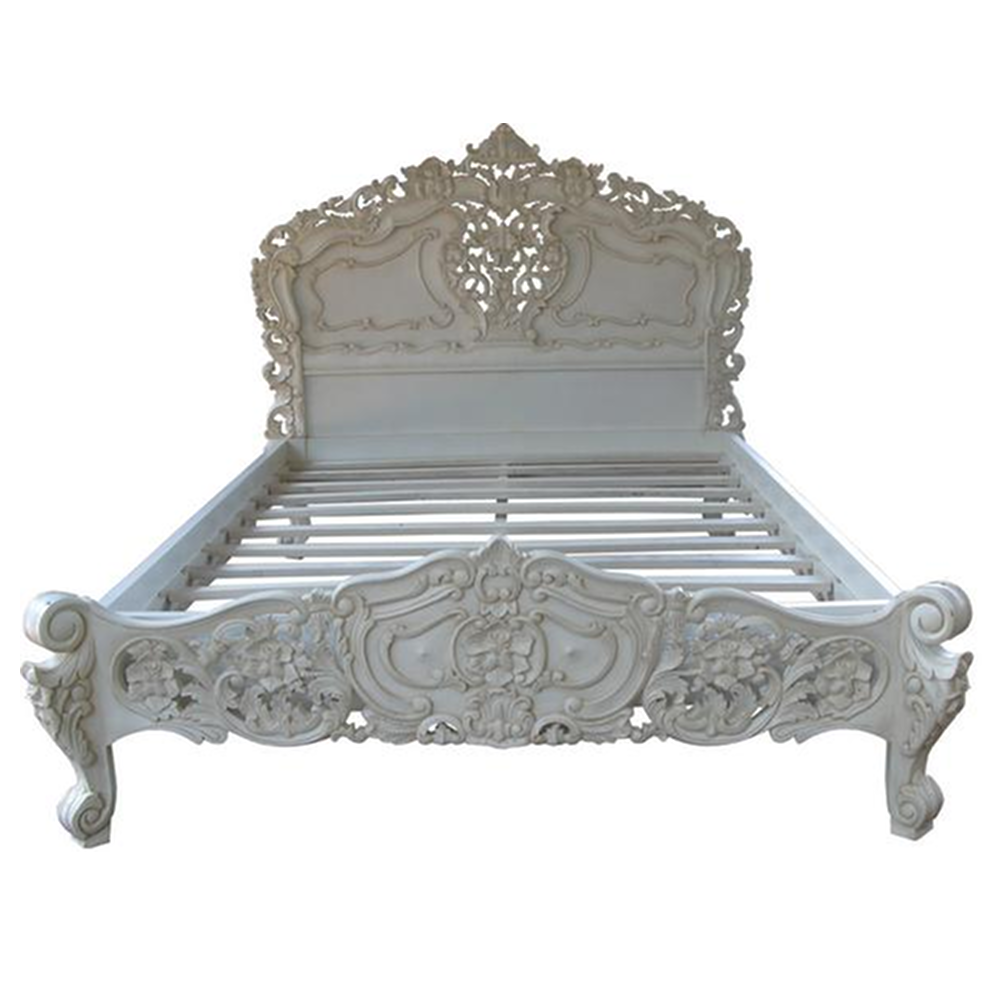 lumiere rustic rococo bed frame antique white serendipity home interiors - Vintage Bed Frame