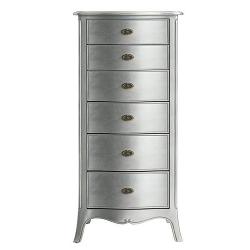 Silver Leaf Bedroom Furniture French Style Furniture Sophia Silver Leaf Tall Chest