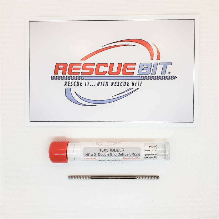 "1/8"" x 3"" Double End Left/Right Rescue Bit® SKU#18X3RBDELR - Removes broken screw extractors, taps, bolts, etc..."