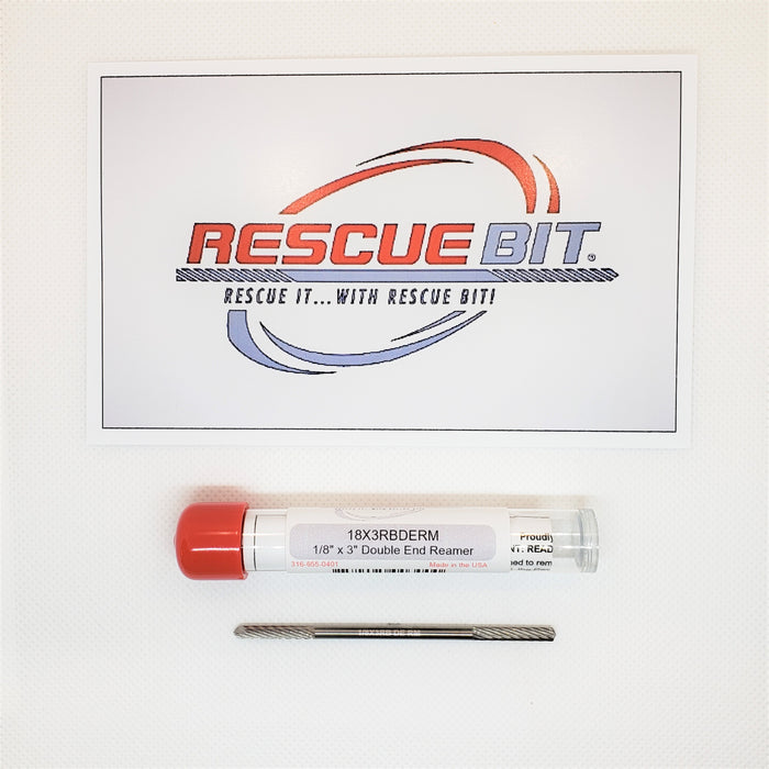 "1/8"" x 3"" Double End W/ Reamer Rescue Bit® SKU#18X3RBDERM - Removes broken screw extractors, taps, bolts, etc..."