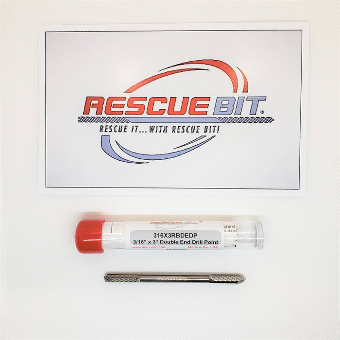"3/16"" x 3"" Double End Drill Point Rescue Bit®SKU#316X3RBDEDP - Removes broken screw extractors, taps, bolts etc..."
