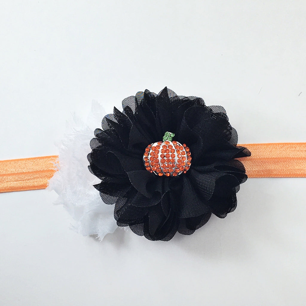 Gabriella- Pumpkin Headband- Black and White Pumpkin Headband