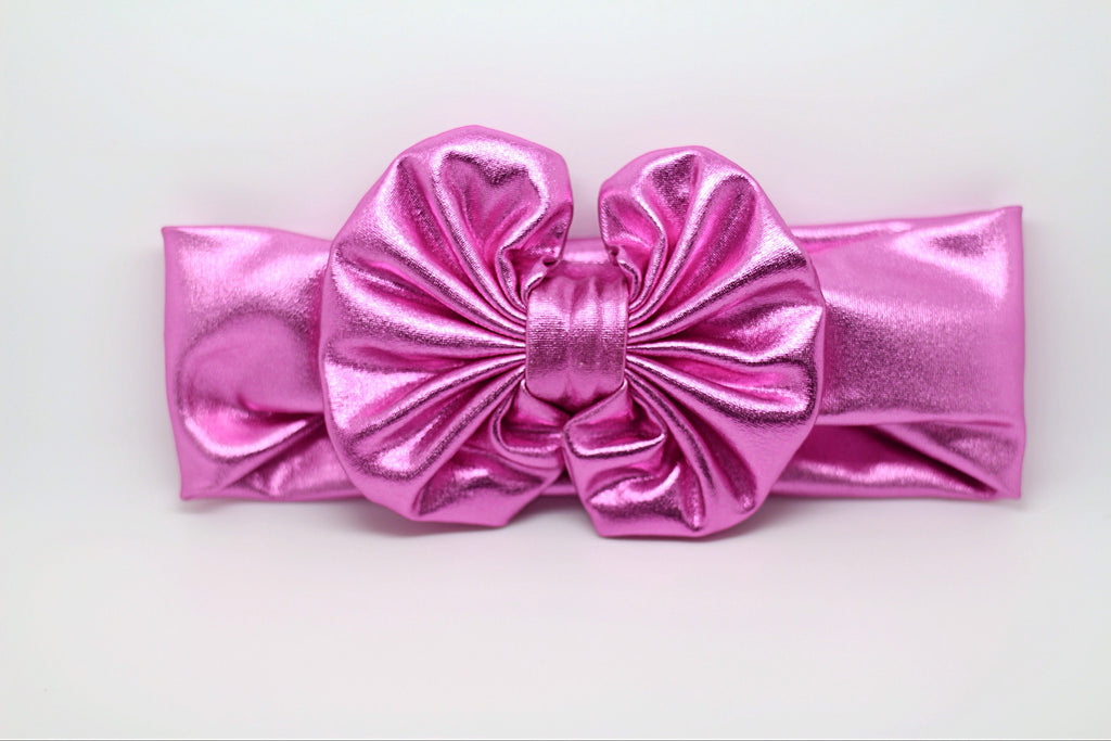 Madeline- Metallic Pink Messy Bow