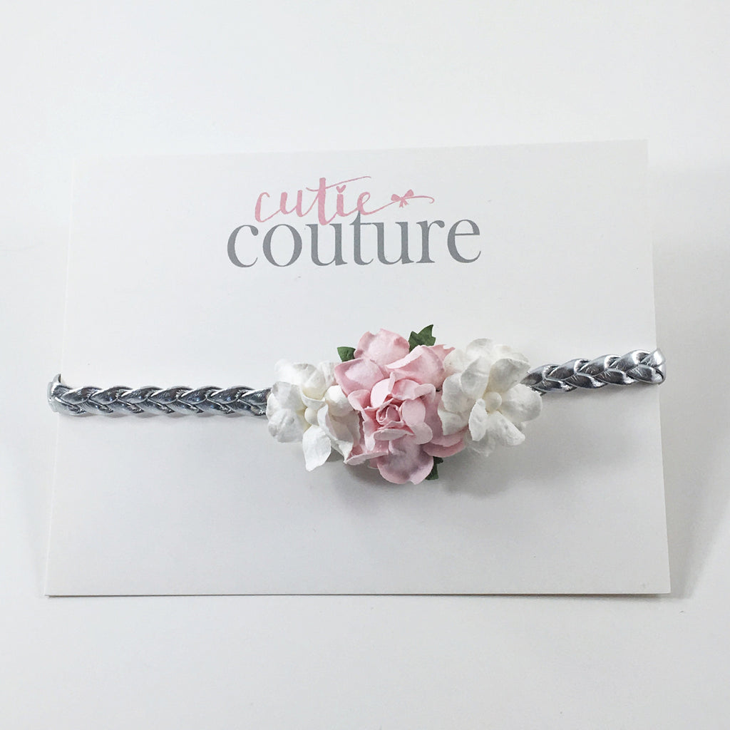 Grace- Pink and Cream flowers on Silver Headband