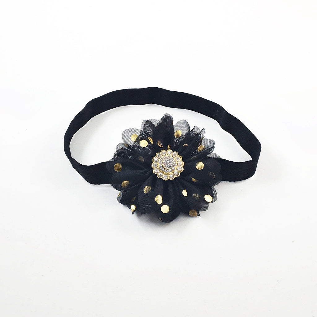 Luciana- Black and Gold Polka Dot Headband