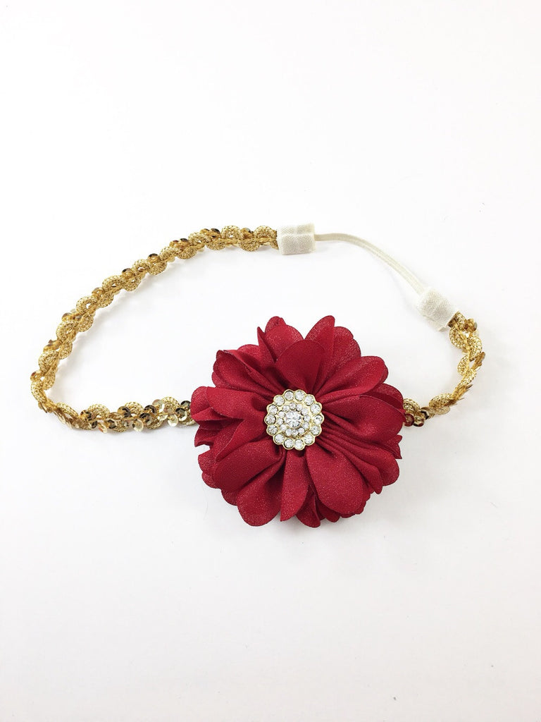 Luciana- deep red sparkle flower on gold sequin headband
