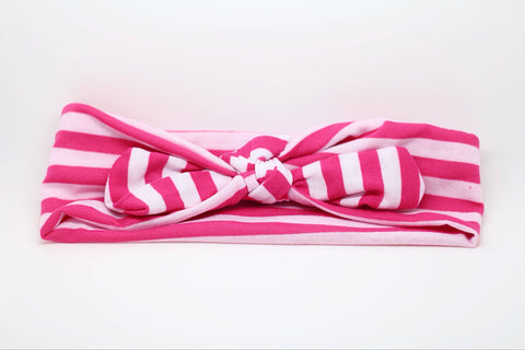 Karen- Hot Pink and White Striped Knotted Headband