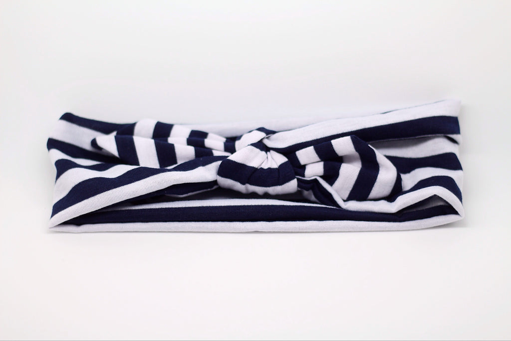 Karen- Black and White Striped Knotted Headband