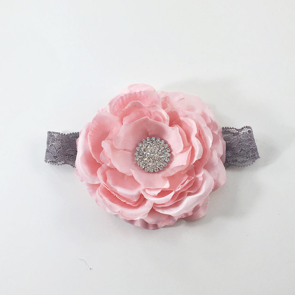 Samantha- Pink Flower on Gray Lace Headband