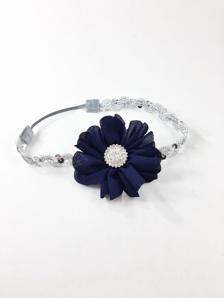 Penelope- Navy flower on silver sequin headband