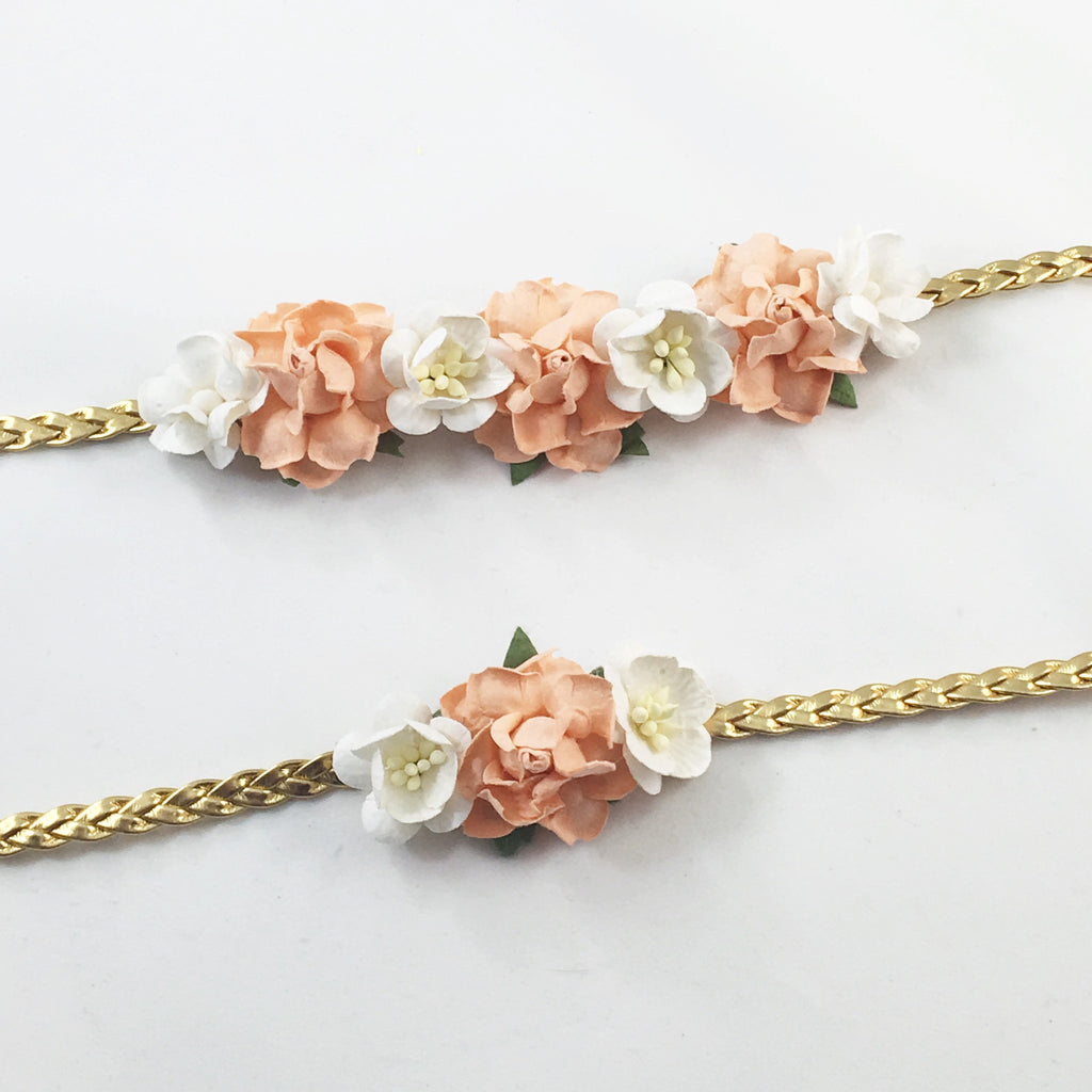 Mommy and Me- Peach, Cream and Gold Headband