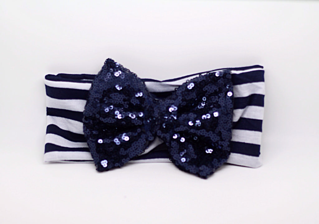 Sophia- Navy and White Striped Sequin Bow Headband