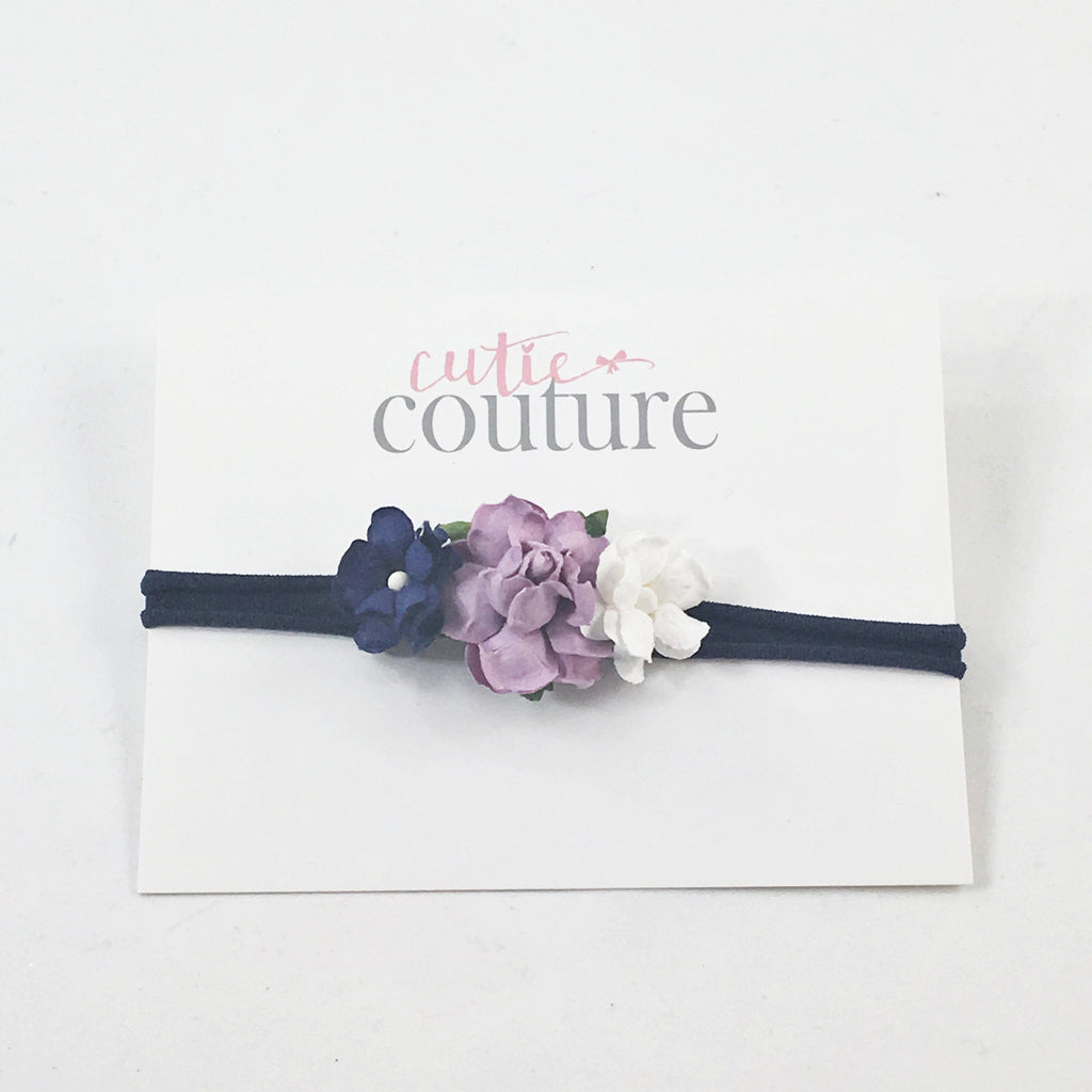 Grace- Navy, Purple and Lavender Flowers on White Nylon Headband