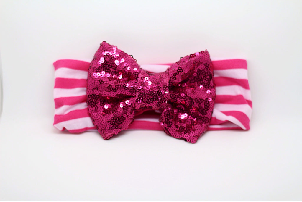 Sophia- Hot Pink and White Striped Sequin Headband