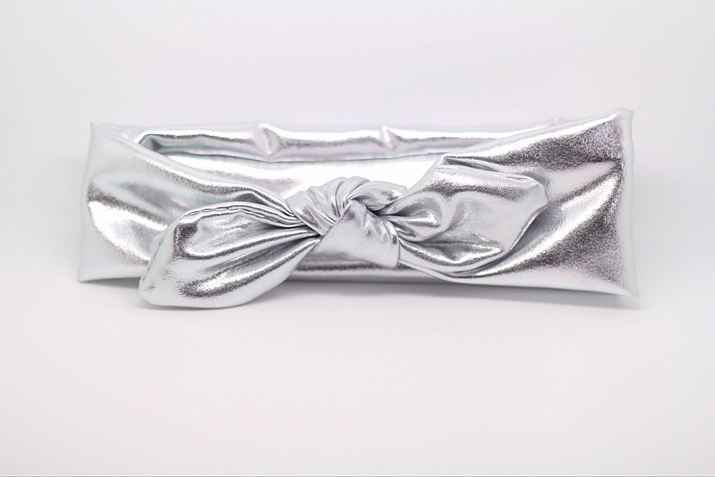 Karen- Metallic Silver Knotted Headband