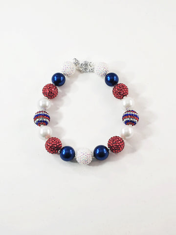 Bubblegum Necklace- Red White and Blue