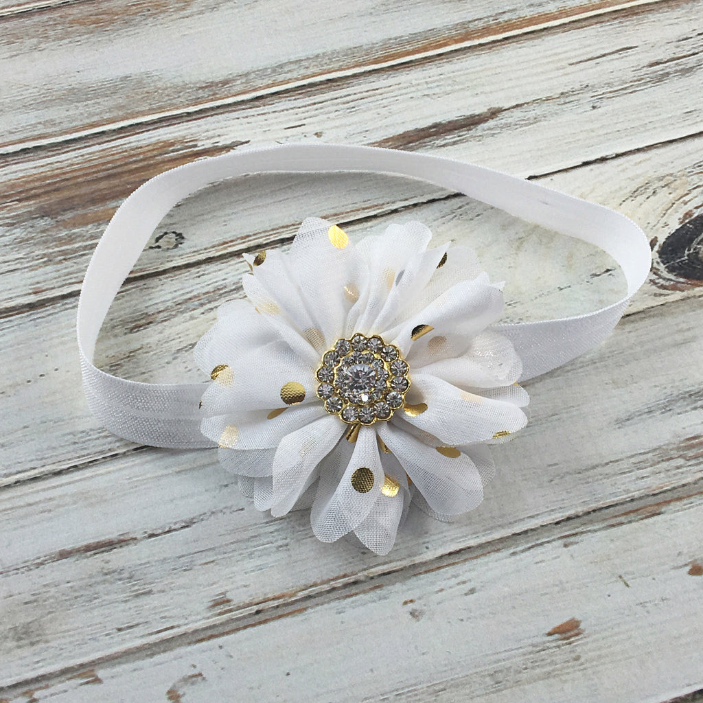 Luciana- White and Gold Polka Dot Headband