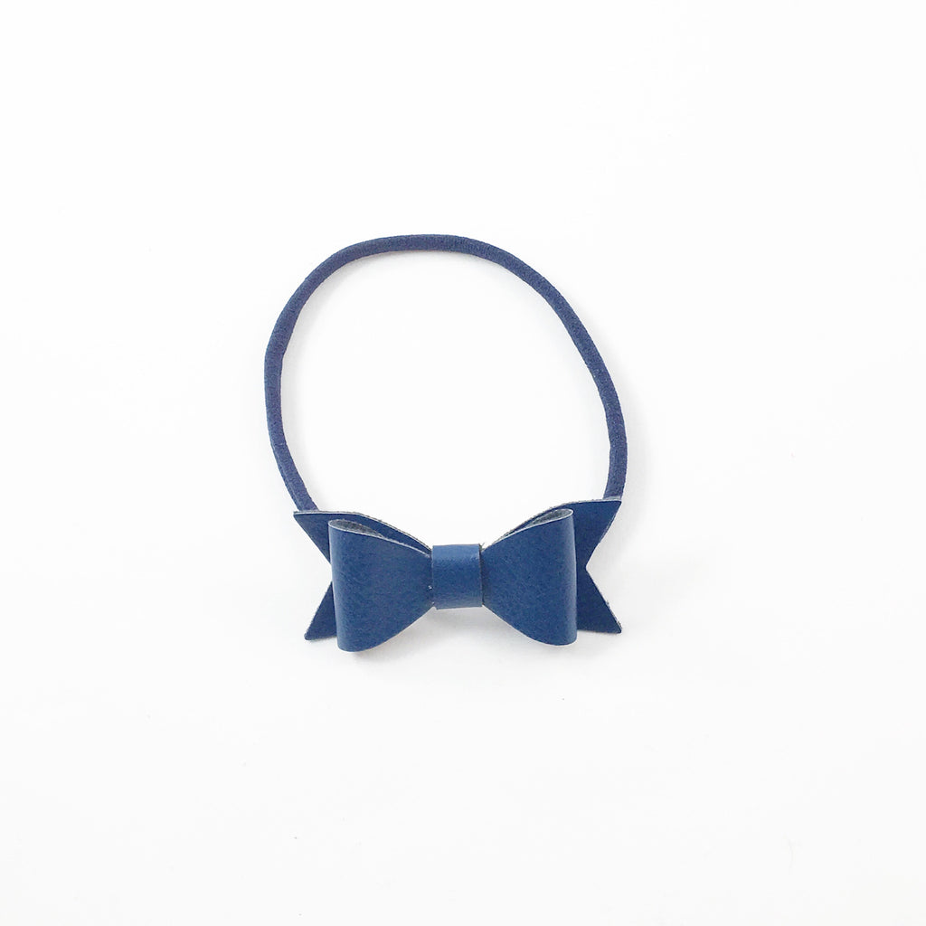 Leather Bow- Navy