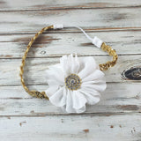 Penelope- White Flower on Gold Sequin Headband