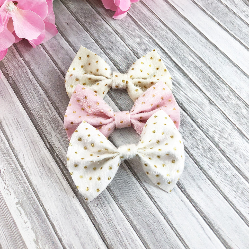 Polka Dot Furry bows