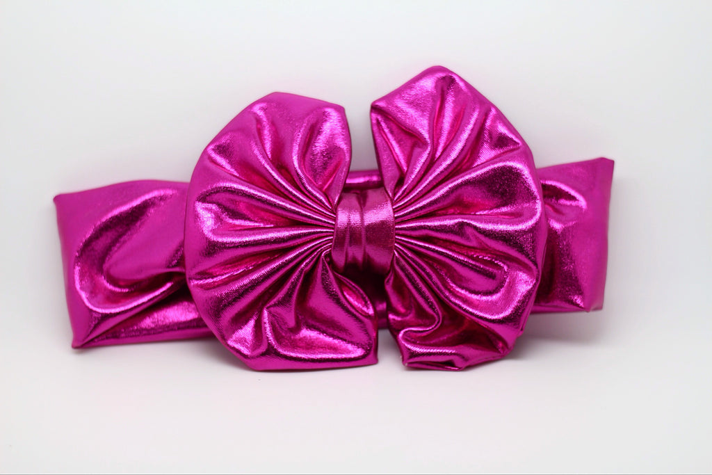 Madeline- Metallic Hot Pink Messy Bow