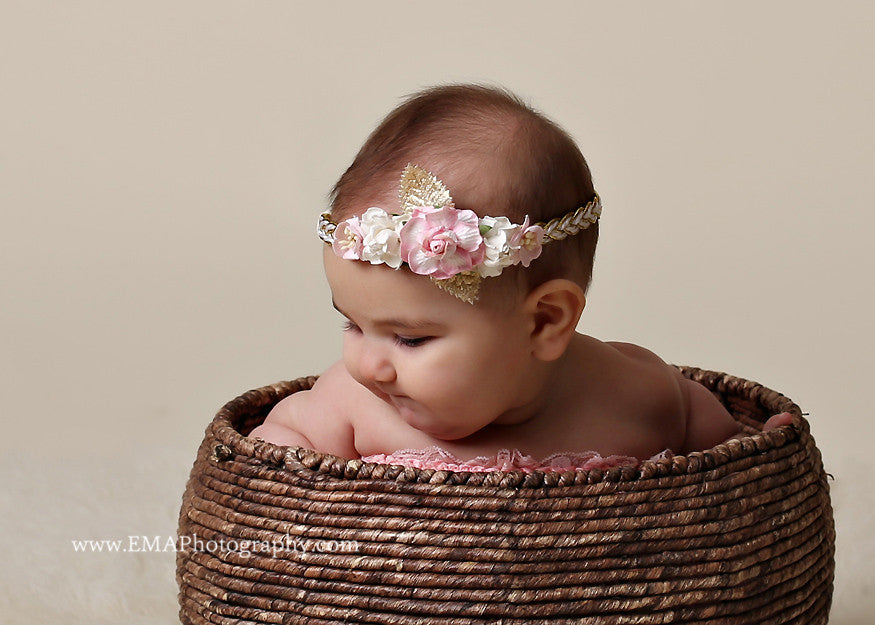 Valentina- Pink, Cream, and Gold Headband