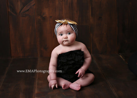 Karen- Black, White and Gold Striped Knotted Headband