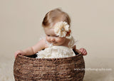 Lyla- Ivory Flower on gold braided headband