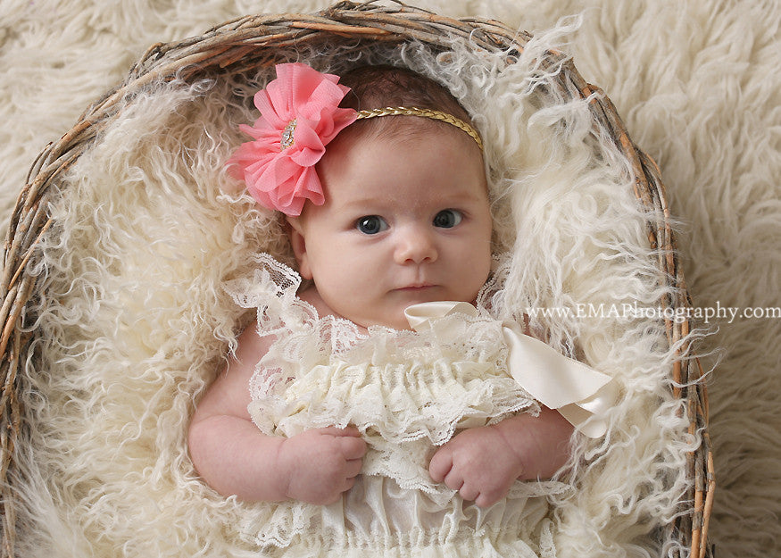 Lyla-Coral Flower on Braided Headband