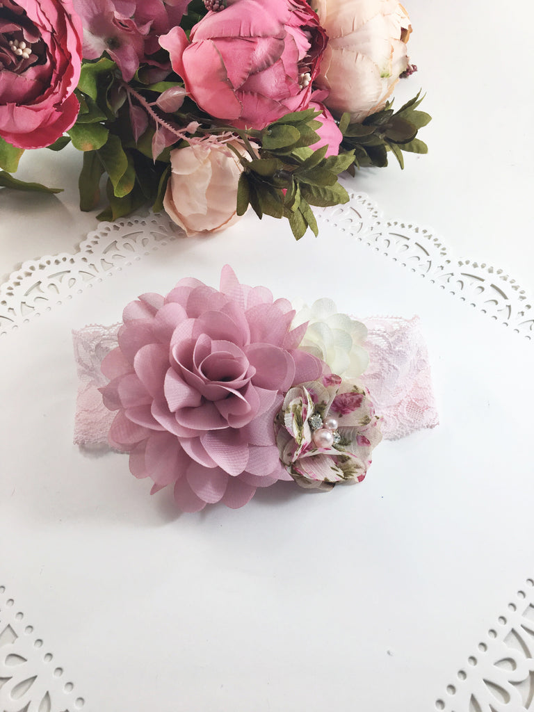 Isabella- Dusty Pink, Ivory, and Pink floral Headband