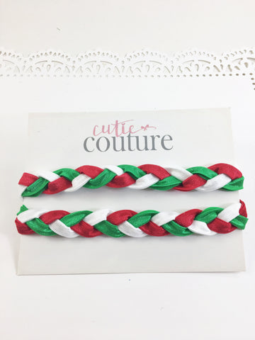 Brandi- Red, Green and White Braided