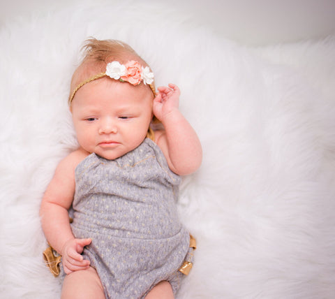 Grace- Cream and Peach flowers on gold Headband