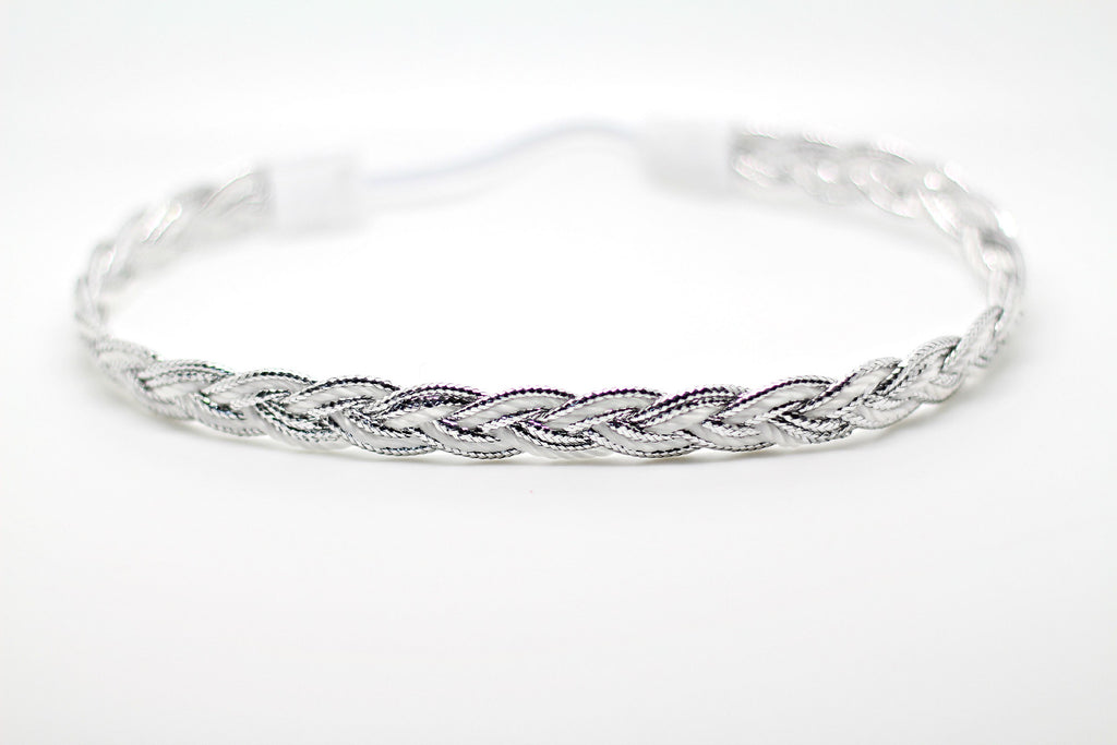 Silver and White braided headband