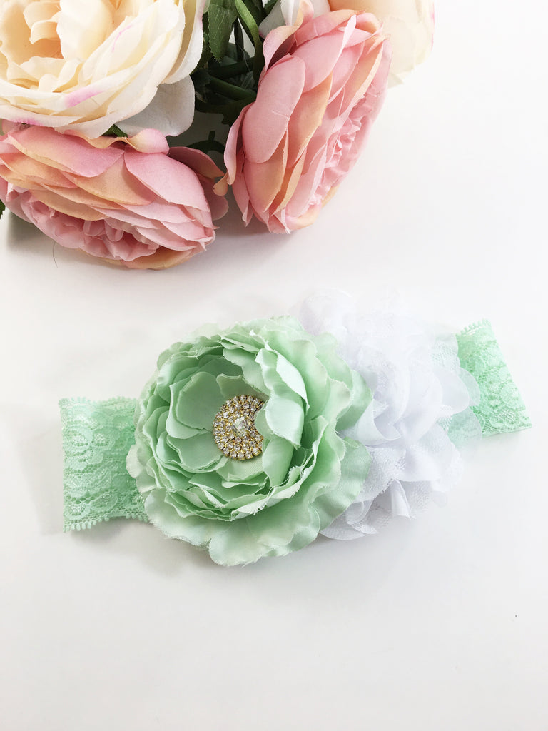 Rosanna- Mint and White Headband