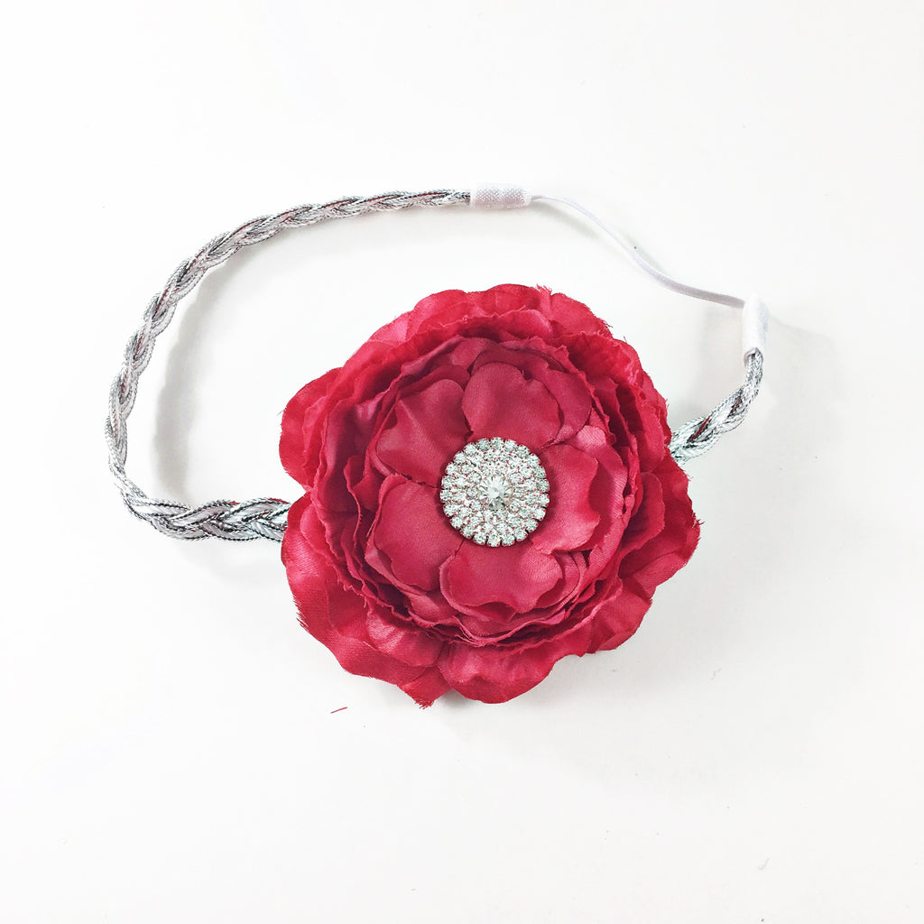 Samantha- Red Flower on silver braided headband