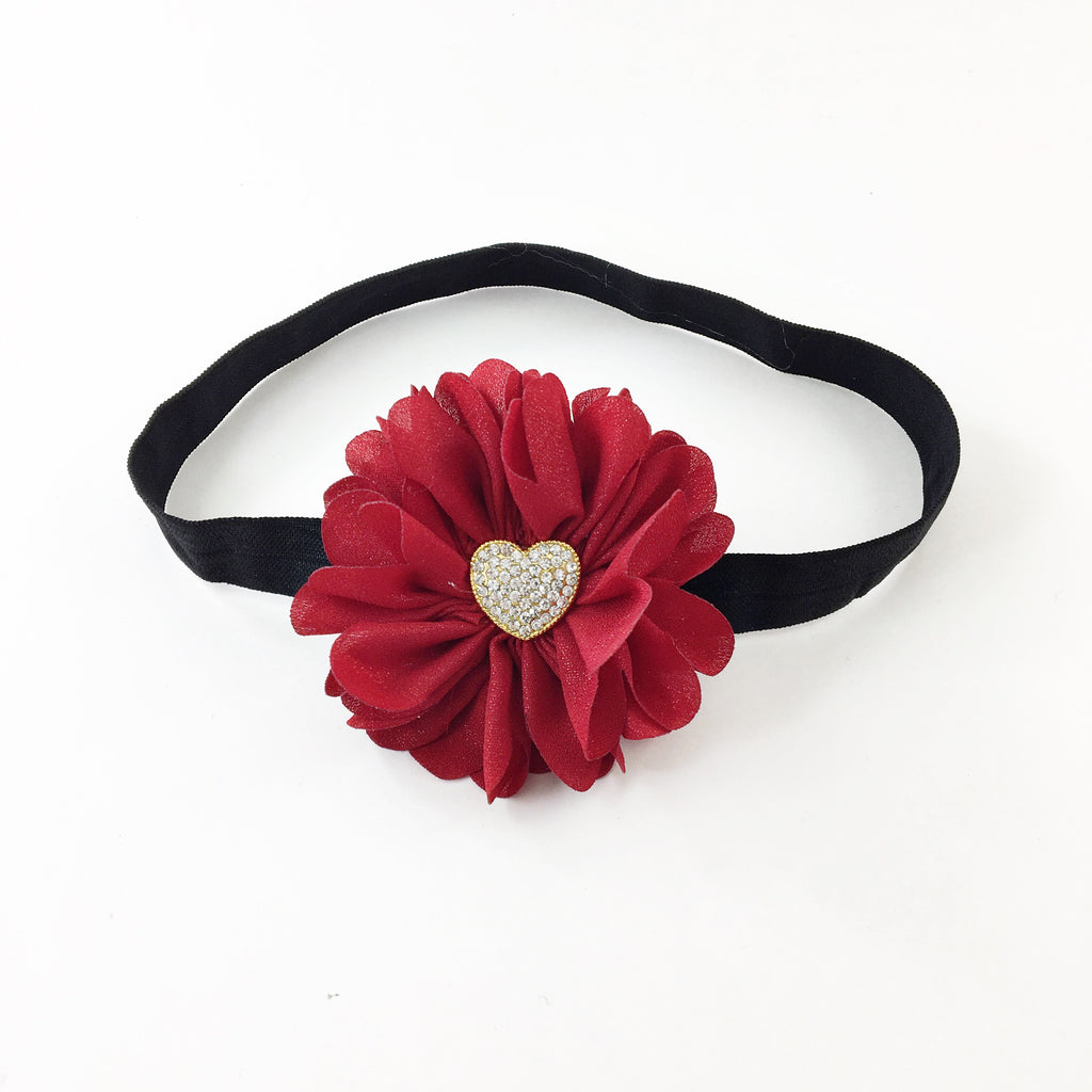 Luciana- red sparkle flower with gold heart
