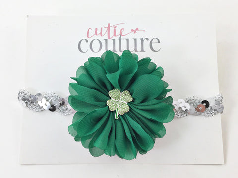 Luciana- Green and Silver sequin Headband