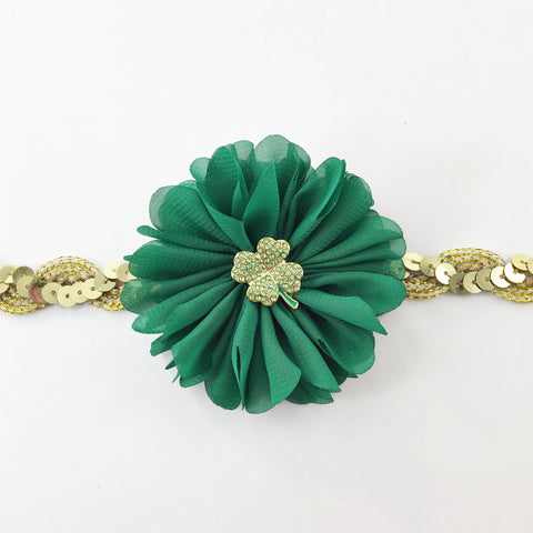 Luciana- Green and Gold sequin Headband