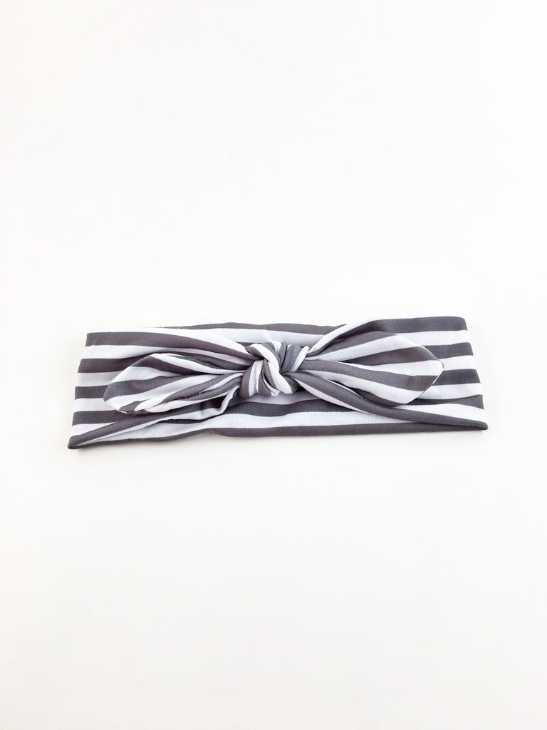 Karen- Gray And White Striped Knotted Headband