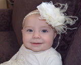 Lacey- Ivory Flower with Or without feather on a Pearl and Beaded Headband