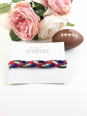 Football Headbands- Football Lace Braided Headbands-Pick Your Favorite Team