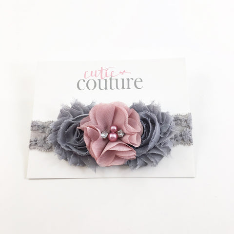 Brianna- Dusty Rose and Gray Headband