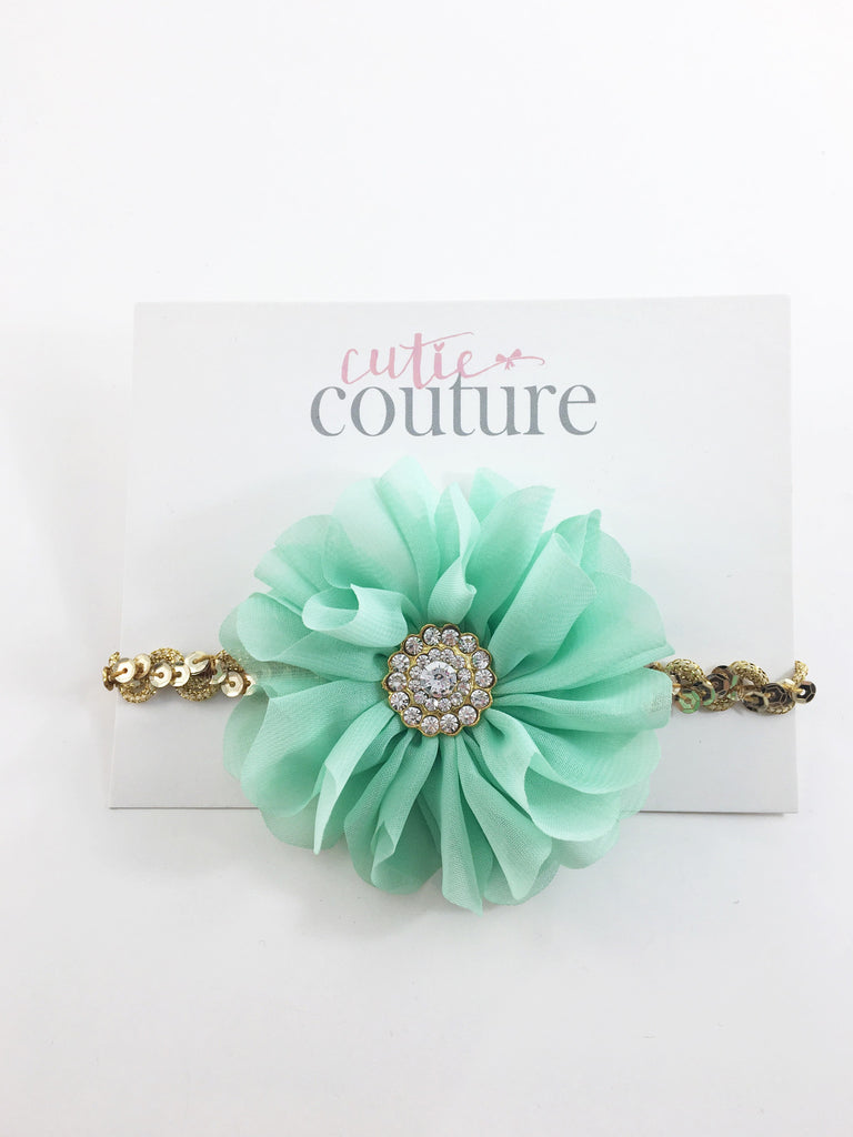 Lyla - Mint and Gold Sequin Headband